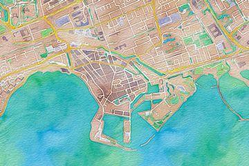 Kleurrijke kaart van Hoorn von Stef Verdonk