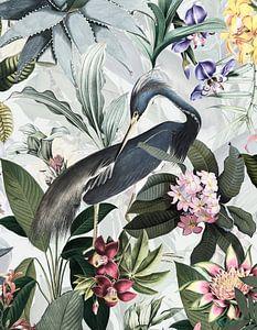 Blauwe reiger in de jungle van de tropische bloesems van Uta Naumann