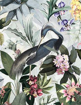 Blaureiher Im tropischen Blüten Dschungel von Uta Naumann