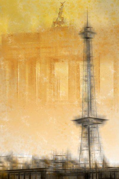 City-Art BERLIN Radio Tower & Brandenburg Gate | yellow van Melanie Viola