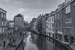 Oudegracht, Lichte Gaard en Lijnmarkt in Utrecht - zwart-wit