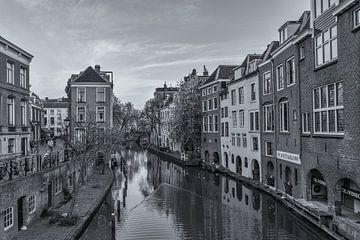 Oudegracht, Lichte Gaard en Lijnmarkt in Utrecht - zwart-wit van Tux Photography