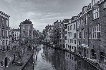 Oudegracht, Lichte Gaard en Lijnmarkt in Utrecht - zwart-wit von Tux Photography