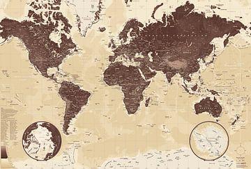 Wereldkaart, Bruin van MAPOM Geoatlas