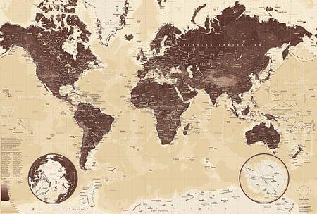 Weltkarte, schokoladenbraune
