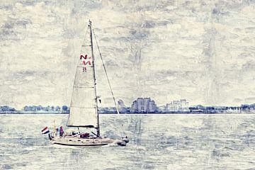 Zeilen voor de kust van Breskens (schilderij) van Art by Jeronimo