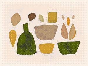 Compositie met fles en bakjes