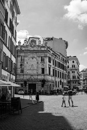 Een straat in Rome in zwart-wit, Italië, fotoprint