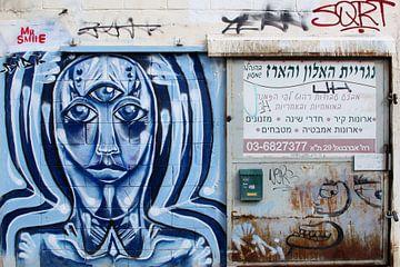 Mister smile street art, Tel Aviv van Inge Hogenbijl