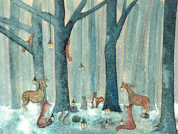 Treffen der Tiere des Waldes von Martine van Nieuwenhuyzen