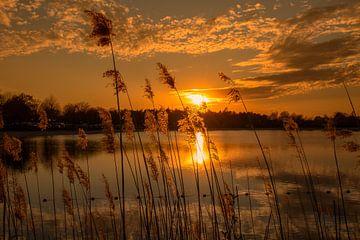 Zonsondergang aan het water. van Rick van de Kraats
