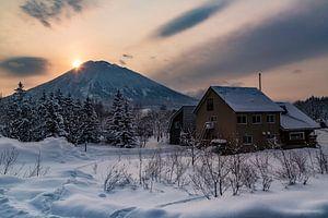 Zonsondergang in het land van de rijzende zon, Japan.