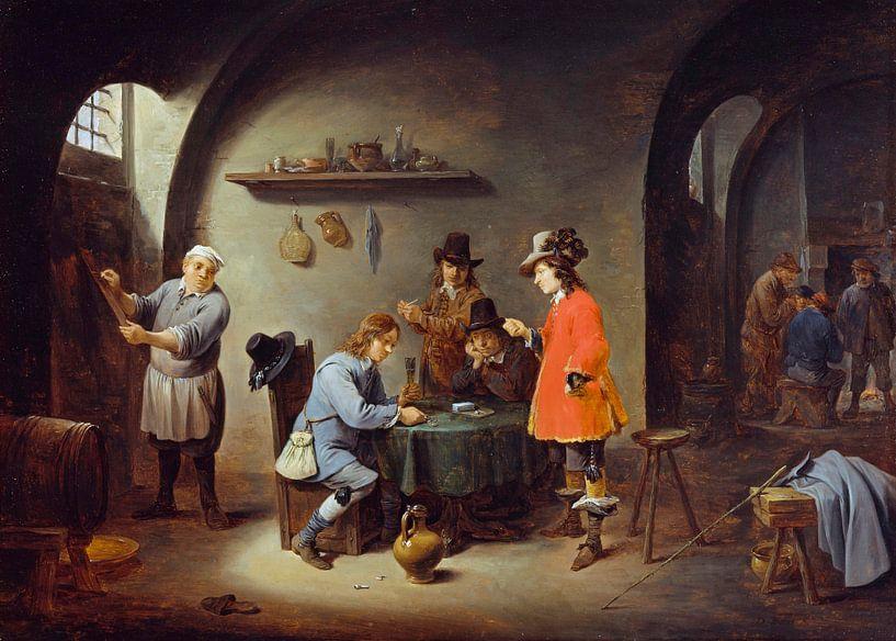 Glücksspielszene in einem Gasthaus, David Teniers II von Meesterlijcke Meesters