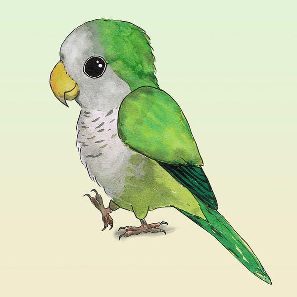 Schattige papegaai van Bianca Wisseloo