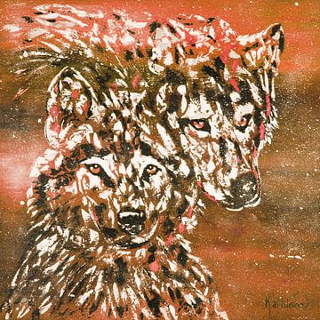 Winterwolf oranje van Kathleen Artist Fine Art