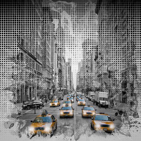 Grafische Kunst in de STAD NEW YORK op 5th Avenue verkeer van Melanie Viola