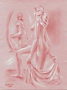 Vrouwelijk naakt voor een spiegel van Marita Zacharias