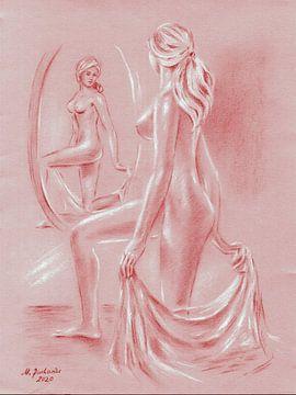 Weiblicher Akt vor Spiegel von Marita Zacharias