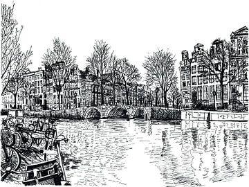 Zeichnung Keizersgracht Amsterdam Niederlande von Hendrik-Jan Kornelis