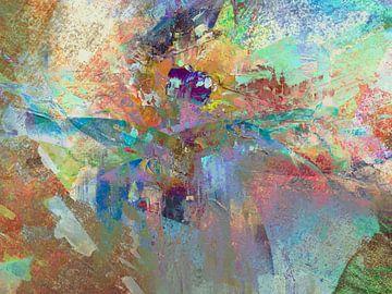 Modern, Abstract Digitaal Kunstwerk in Pastel kleuren van Art By Dominic