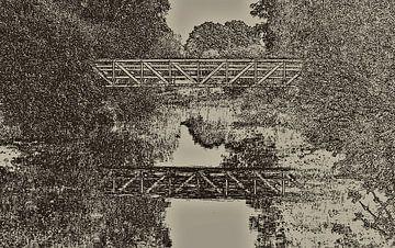 Holzbrücke in Schwarz-Weiß von Corrie Ruijer
