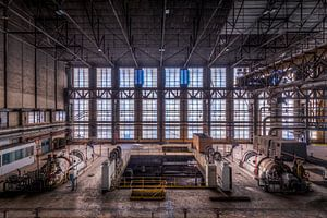 Symmetrie der Fenster der verlassenen Fabrik