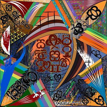 Moderne farbenfrohe Arbeit aus geometrischen Formen von EL QOCH
