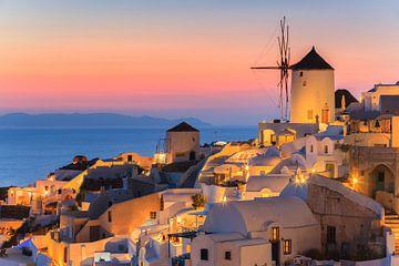 Sonnenuntergang Oia, Santorin, Griechenland von Henk Meijer Photography