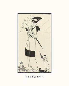 La fantaisie | Art Deco zwart-wit schets | Vintage mode advertentie | Historische prent van NOONY