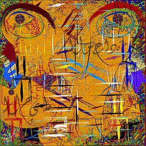 abstracte canvas muurschildering
