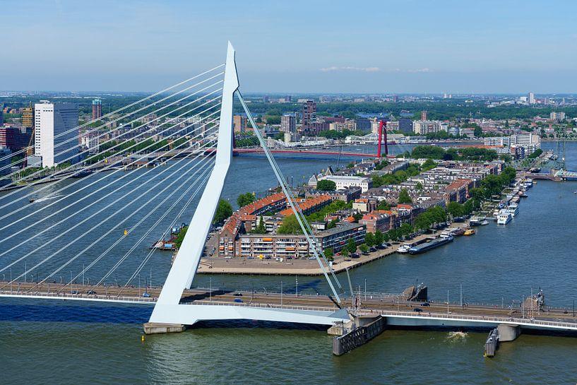 Le pont Erasmus et l'île du Nord sur Mark De Rooij