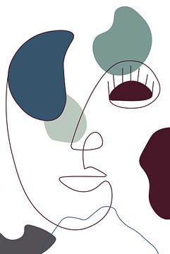 Lijntekening - Kunst - Digitale kunst - Moderne kunst - Blauw - Petrol - Rood - Bruin - Gezicht - Vr van Hendrik Jonkman