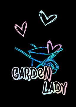 Tuinvrouw Tuinman Neon op Zwart van KalliDesignShop