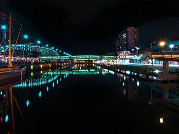 Bremerhaven bij nacht van Mustafa Kurnaz