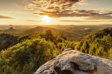 Carola rotsen bij zonsondergang, Elbezandsteen gebergte, Saksisch Zwitserland van Markus Lange