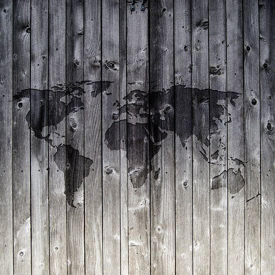 Wereldkaart op Houten planken | Wandcirkel