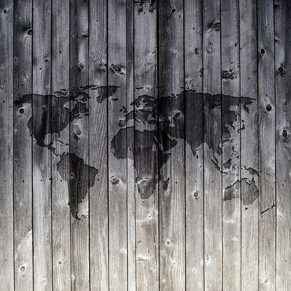 Wereldkaart op Houten planken | Wandcirkel van Wereldkaarten.Shop