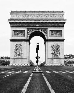 Arc de Triomphe, Parijs, Frankrijk/ zwart-wit