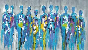 Blue Group of People | Blauw Figuratief Schilderij van Mensen