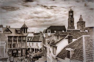Oude stad Utrecht in zwartwit van Jan van der Knaap