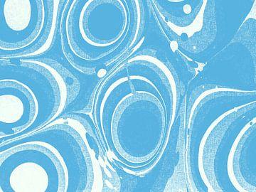 Abstract organische vormen in blauw tinten van Maurice Dawson