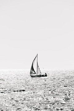 Sail away - Zeilboot op zee (zwart-wit) van Quinten Tolboom