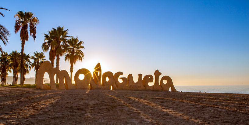 Malaga, strand Playa de La Malagueta - Spanje van Gerard van de Werken
