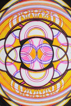 Geometrische variatie op de hexagram in geel roze en zwart  van E11en  den Hollander