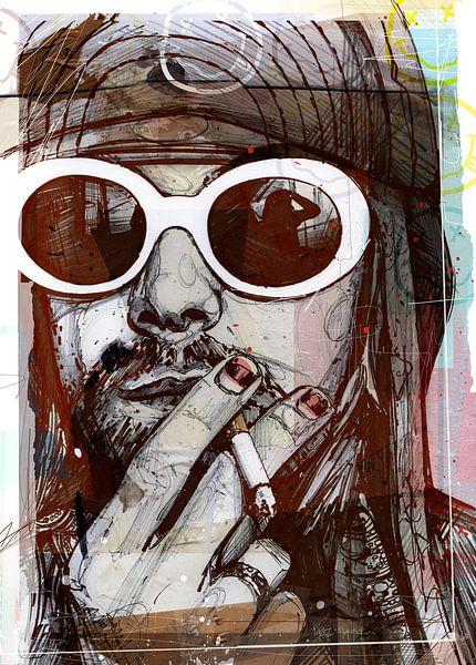 Kurt Cobain (Nirvana) pop art van Jos Hoppenbrouwers