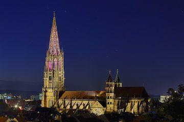 Illuminierter Münsterturm Freiburg von