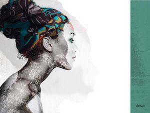 21.  silhouet, portret, vrouw, Meta. van