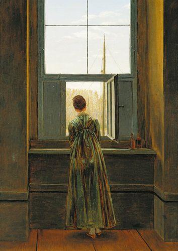 Caspar David Friedrich - Vrouw aan het raam van 1000 Schilderijen