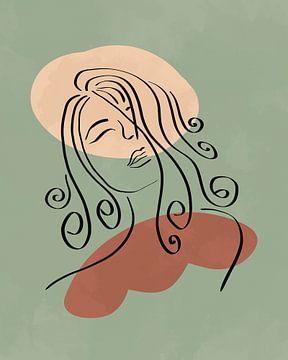 Lijn tekening van een gezicht met twee organische vormen