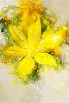 Fleur jaune sur Sharon Harthoorn